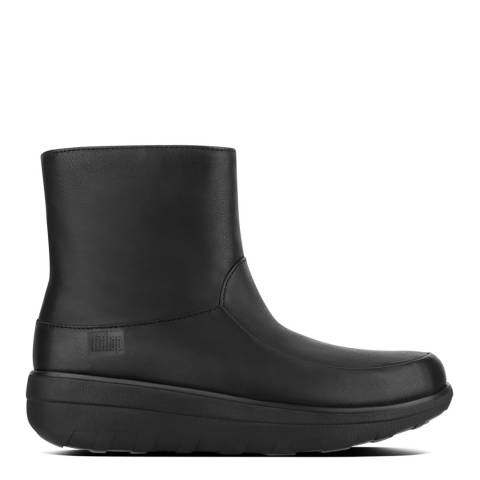 FitFlop Black Leather Loaff Shorty Zip Boots