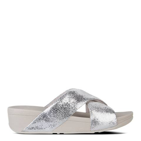 FitFlop Metallic Silver Leather Swoop Slide Sandals