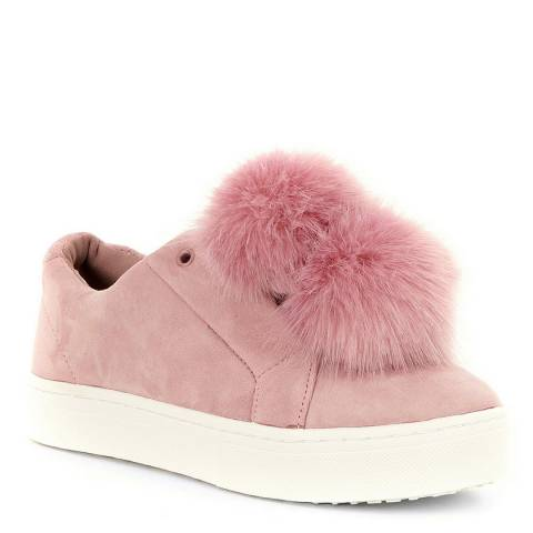 Sam Edelman Pink Mauve Leya Suede Faux Fur Pom Sneaker