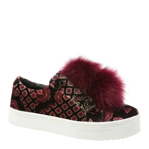 Sam Edelman Black Foulard Velvet Leya Pom Pom Sneakers