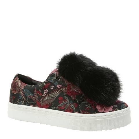 Sam Edelman Black Jacquard Majestic Bird Leya Pom Pom Sneakers