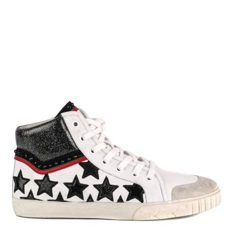 ASH White Leather Musik Star Hi Top Trainers