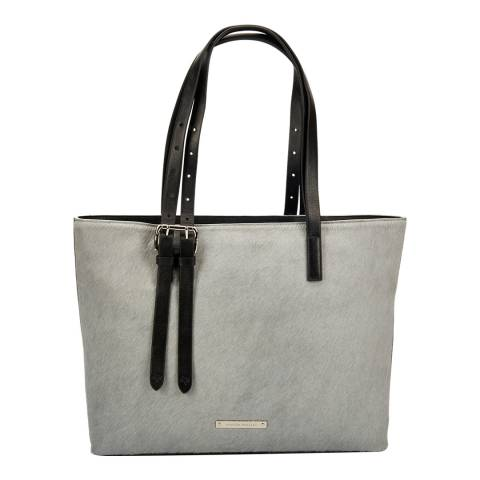 Amanda Wakeley Grey Leather Pony Fur The Dean Shoulder Bag