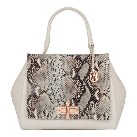 Amanda Wakeley Cream/ Grey Python Print Leather The Cagney Handbag