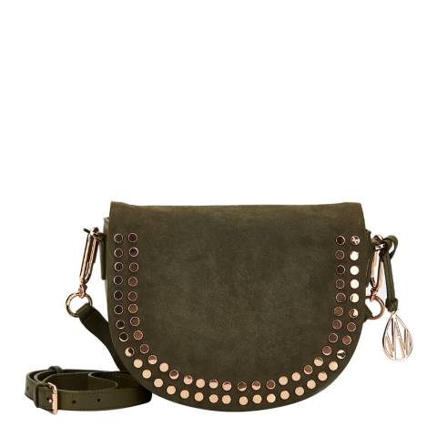 Amanda Wakeley Khaki Leather The Cooper Crossbody Bag