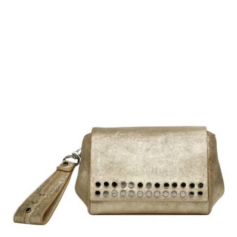 Amanda Wakeley Light Gold Leather The Heston Clutch Bag