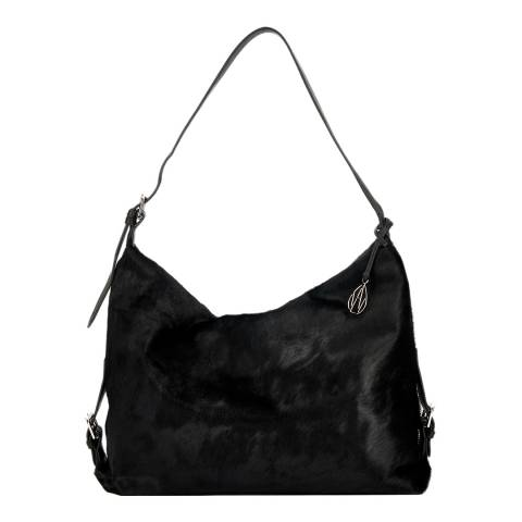 Amanda Wakeley Black Pony Fur Leather The Costner Shoulder Bag