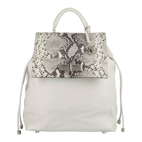 Amanda Wakeley Cream/Grey Python Print Leather The Elba Backpack