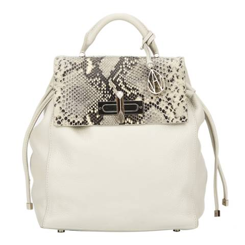 Amanda Wakeley Cream/Grey Python Print Leather The Mini Elba Backpack