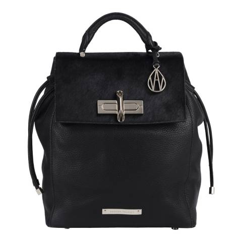Amanda Wakeley Black Leather Pony Fur The Mini Elba Backpack