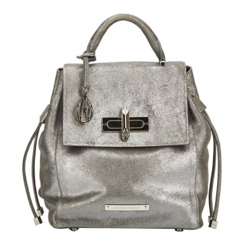 Amanda Wakeley Gunmetal Leather The Micro Elba Backpack