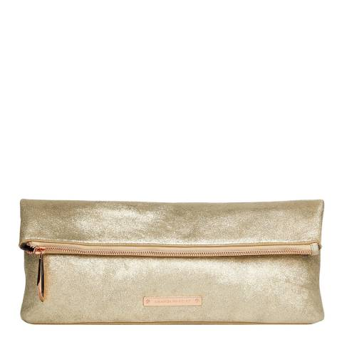 Amanda Wakeley Pale Gold Leather The Hoffman Clutch Bag
