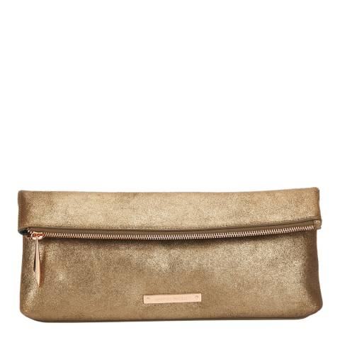 Amanda Wakeley Gold Leather The Hoffman Clutch Bag
