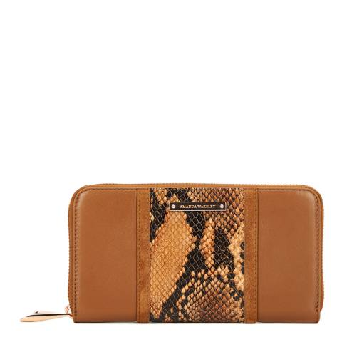 Amanda Wakeley Tan/Python Print Leather The Stripe Dylan Purse