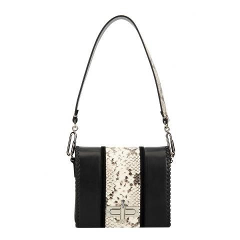 Amanda Wakeley Black/Python Print Leather The Stripe Costello Shoulder Bag