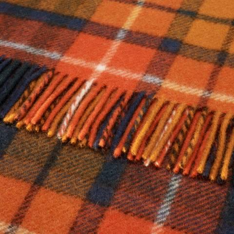 Bronte by Moon Orange/Navy Antique Buchanan Tartan Pure New Wool Throw