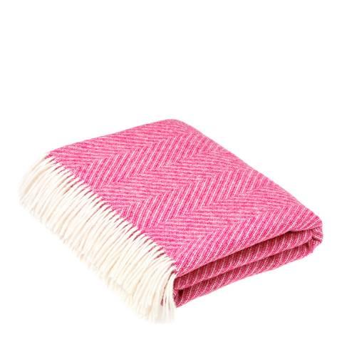 Bronte by Moon Cerise Pink Herringbone Wool Throw 140x185cm