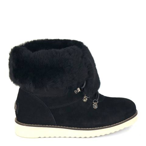 Australia Luxe Collective Black Suede Yael Sheepskin Ankle Boots