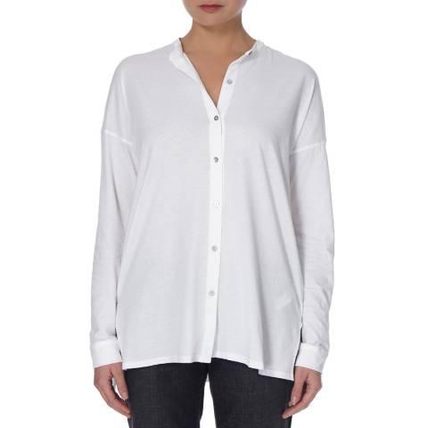 EILEEN FISHER White Mandarin Collar Cotton Shirt