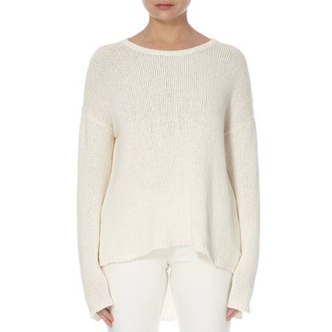 EILEEN FISHER White Organic Cotton Blend Knit Top