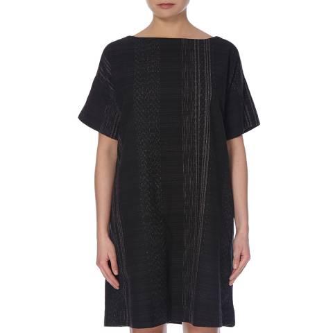EILEEN FISHER Black Bateau Jacqaurd Cotton Dress