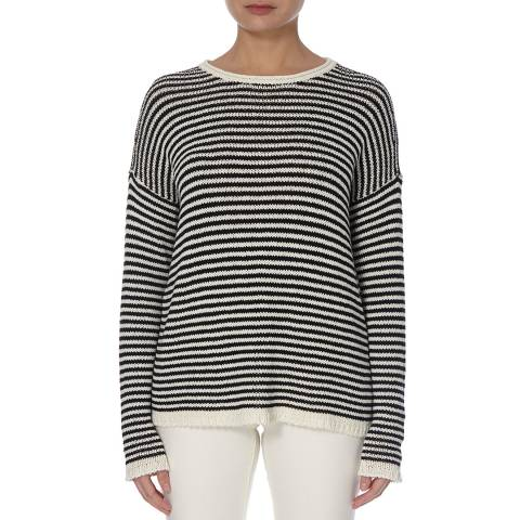 EILEEN FISHER Soft White/Black Organic Cotton Blend Knit Top