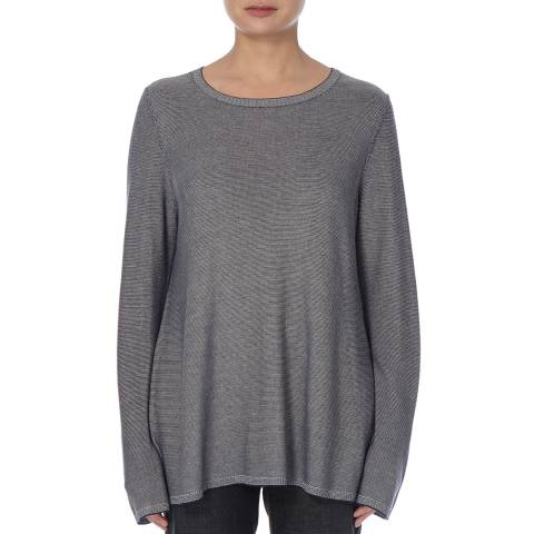 EILEEN FISHER Grey A Line Microstripe Top