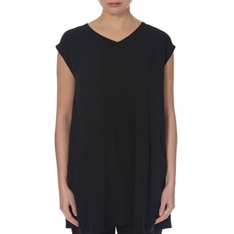 EILEEN FISHER Black Soft V Neck Silk Tunic Top