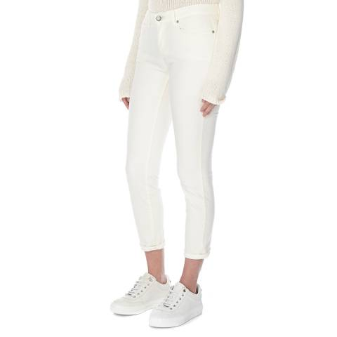 EILEEN FISHER Cream Slim Ankle Jeans