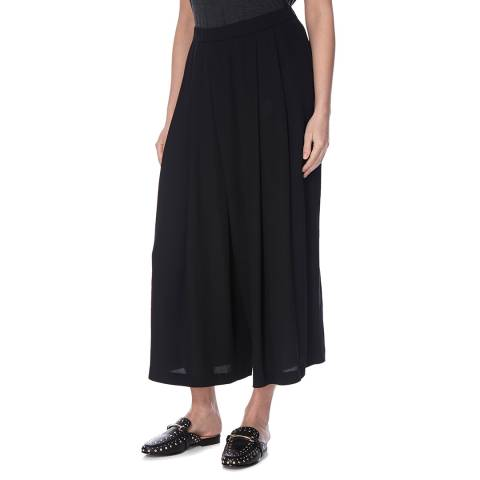 EILEEN FISHER Black Wide Pleated Silk Trousers