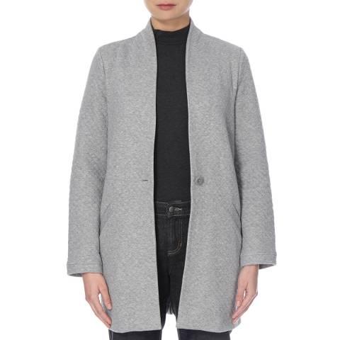 EILEEN FISHER Grey Double Knit Diamond Cotton Blend Jacket