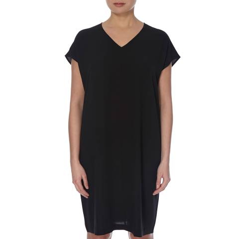 EILEEN FISHER Black Georgette Crepe Silk Dress