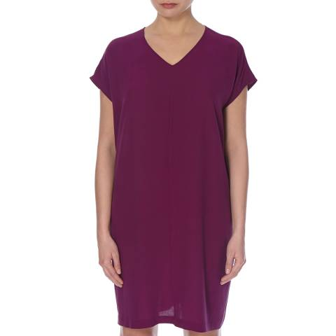 EILEEN FISHER Purple Georgette Crepe Silk Dress
