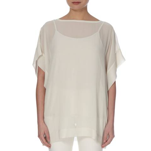 EILEEN FISHER Off White Bateau Neck Silk Top