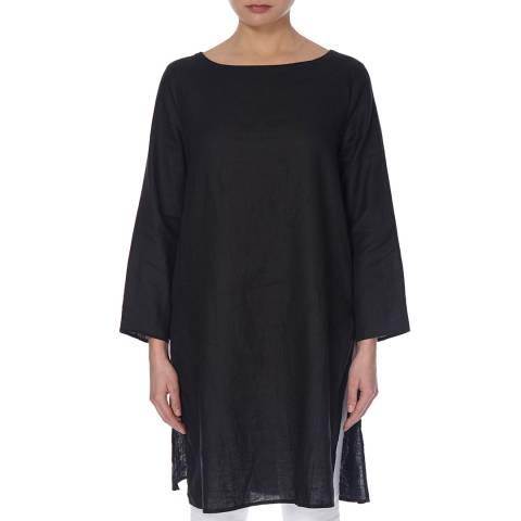 EILEEN FISHER Black Bateau Neck Linen Tunic