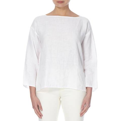 EILEEN FISHER White Bateau Neck Linen Box Top