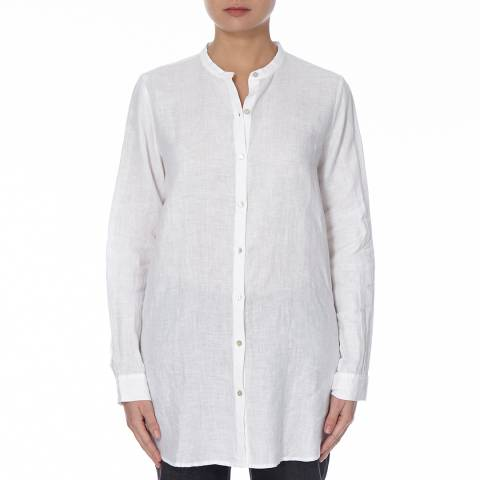 EILEEN FISHER White Mandarin Collar Linen Shirt