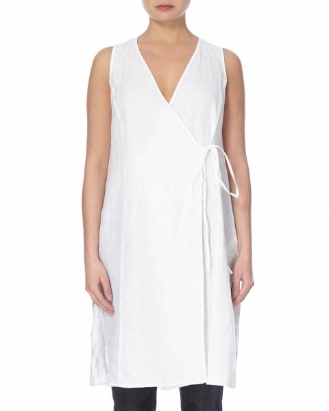 EILEEN FISHER White Wrap Linen Long Top