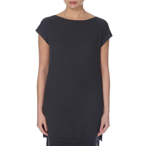 EILEEN FISHER Grey Bateau Neck Ribbed Tunic