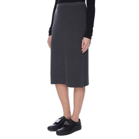 EILEEN FISHER Grey Bateau Neck Ribbed Skirt