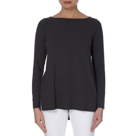 EILEEN FISHER Grey Bateau Neck Plain Top