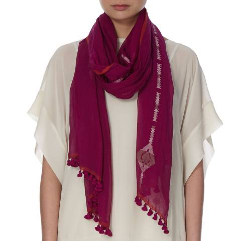 EILEEN FISHER Pink Jamdani Diamonds Cotton Scarf