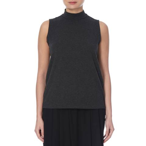 EILEEN FISHER Charcoal Mock Neck Tank Top