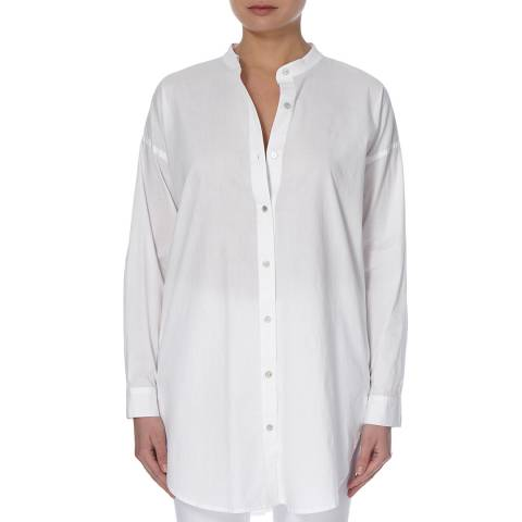 EILEEN FISHER White Madarin Collar Cotton Shirt