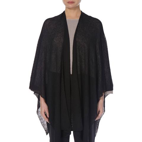 EILEEN FISHER Black Sheer Hemp Blend Shawl