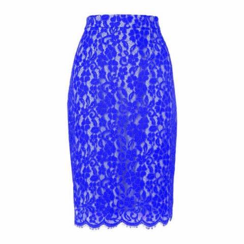 L K Bennett Blue Ward Lace Skirt