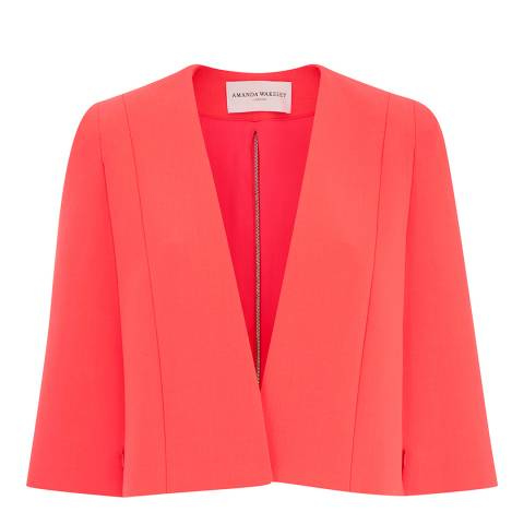 Amanda Wakeley Bright Orange Horizon Sculpted Cotton Blend Cape