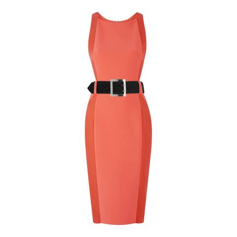 Amanda Wakeley Orange Horizon Sculpted Cotton Blend Short Dress