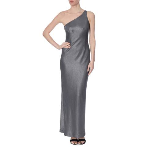 Amanda Wakeley Silver Long Foiled Mesh Metallic Dress