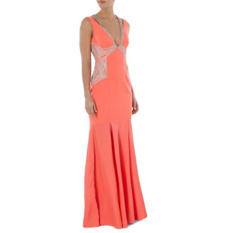 Amanda Wakeley Bright Orange Dune Atelier Sleeveless Cotton Blend Dress